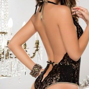 SpendWithJen Intimates & Sleepwear - Goddess Black Lace Plunging Halter Teddy Lingerie